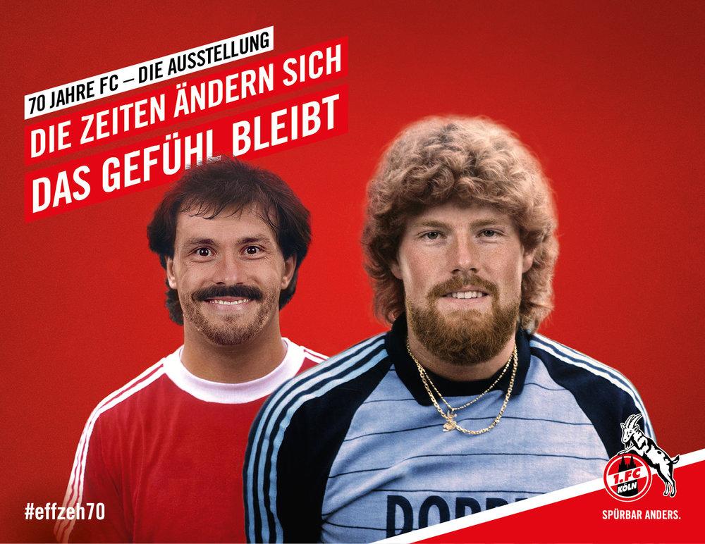 """Kampagnenmotiv für die Ausstellung """"70 Jahre FC – Die Zeiten ändern sich, das Gefühl bleibt"""" des 1. FC Köln (Kampagnenmotiv von den sons of ipanema, einer Designagentur aus Köln und buntebrause, einer Werbeagentur aus Köln)"""