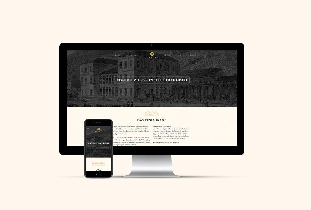 Web Design für vonundzu, ein Restaurant in Bad Ems, Gestaltung und Programmierung von den sons of ipanema (Designagentur aus Köln)