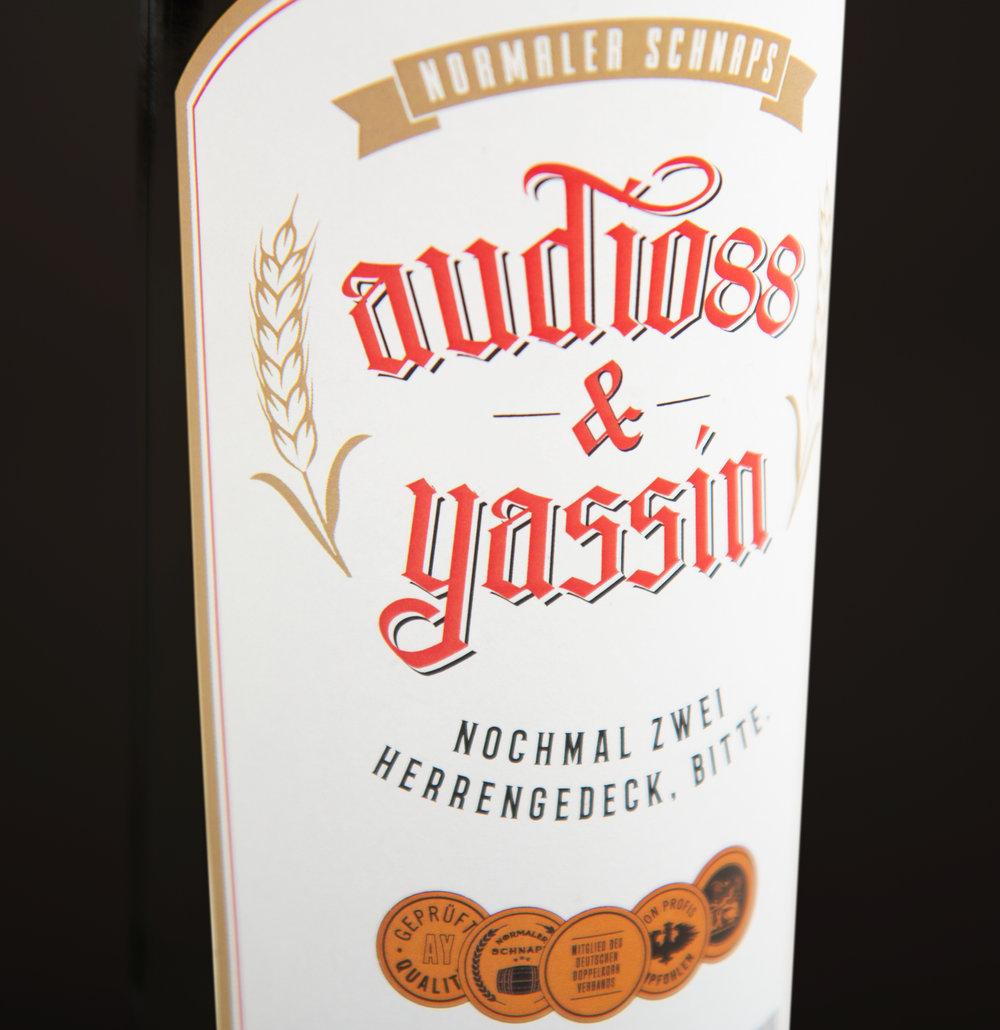 Das Etikett für die zweite Flasche.