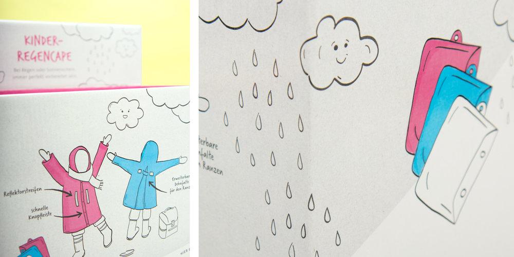 Illustrationen auf dem Happy Rain-Display