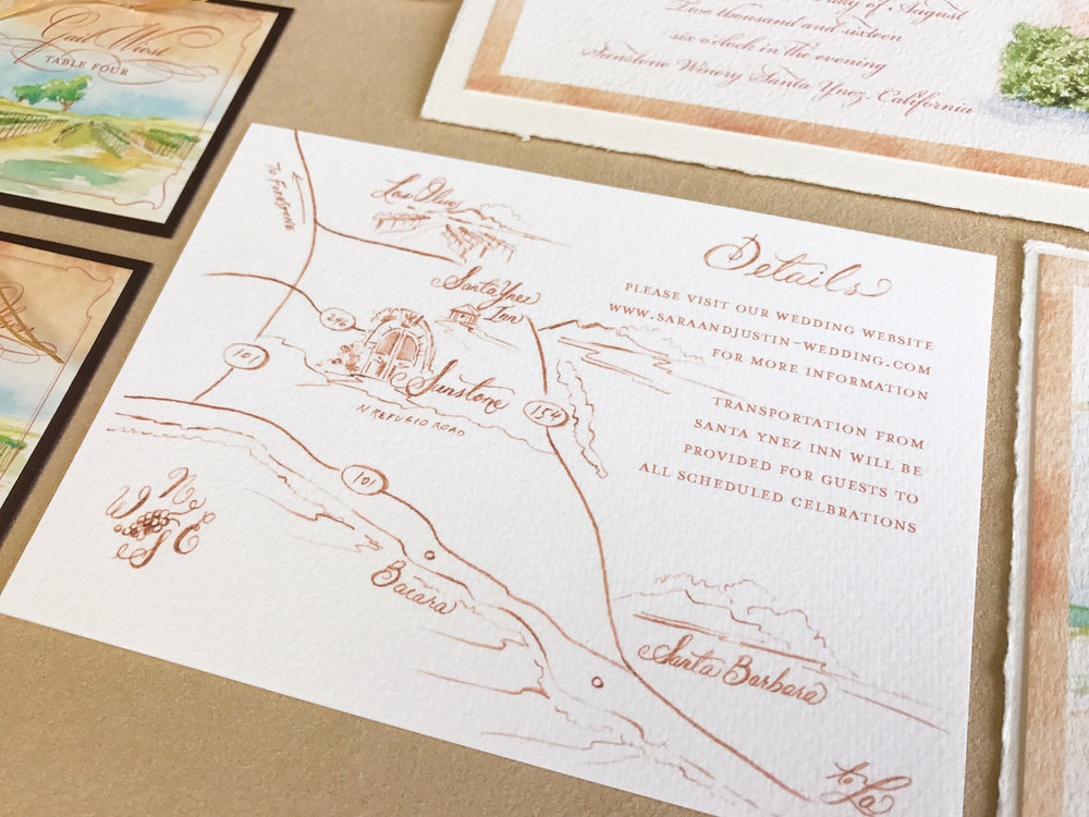 Custom wedding maps add an extra detail to the invitation.