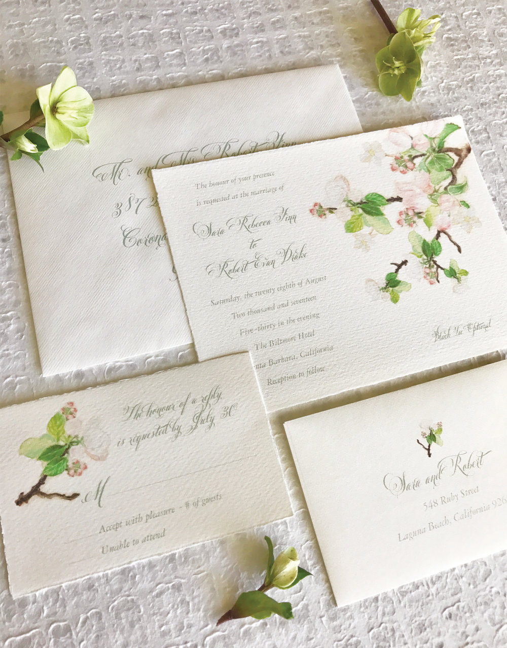 Papermelange.com | Custom Wedding Invitations | Floral Wedding Invitations  | Spring Wedding Invitations |