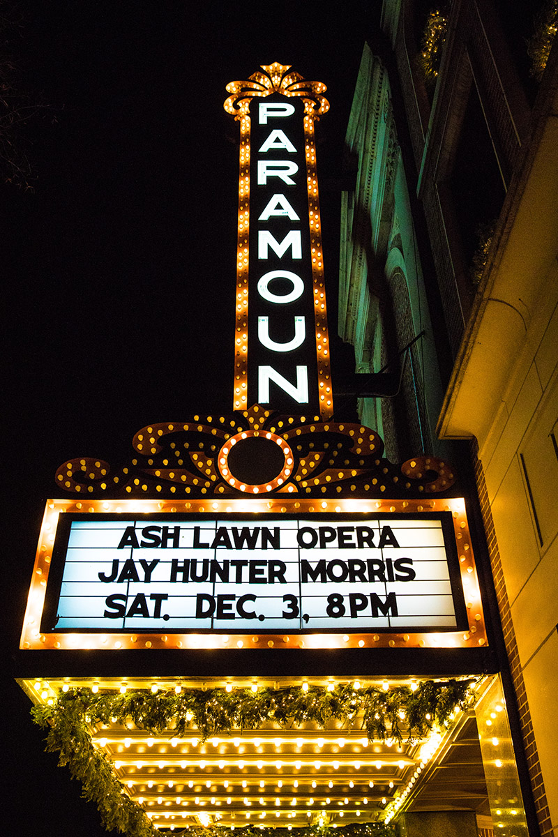 The Paramount Theater marquee before our benefit concert featuring Jay Hunter Morris. Photo by Rob Garland Photographers.