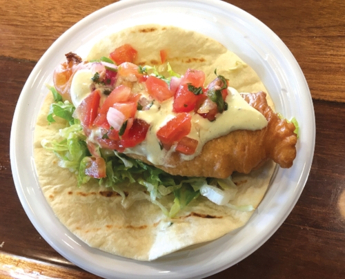 A fluke taco caught and prepared by Southold Fish Market to promote freshly caught local seafood. (Credit: Cornell Cooperative Extension courtesy photo)