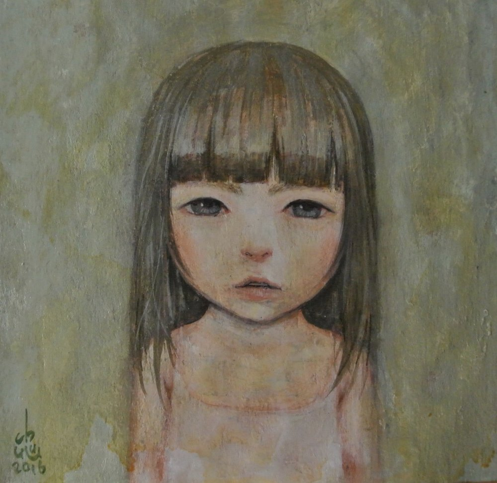 Gouache, aquarelle & acrylique sur toile- 16,5 x 17 cm