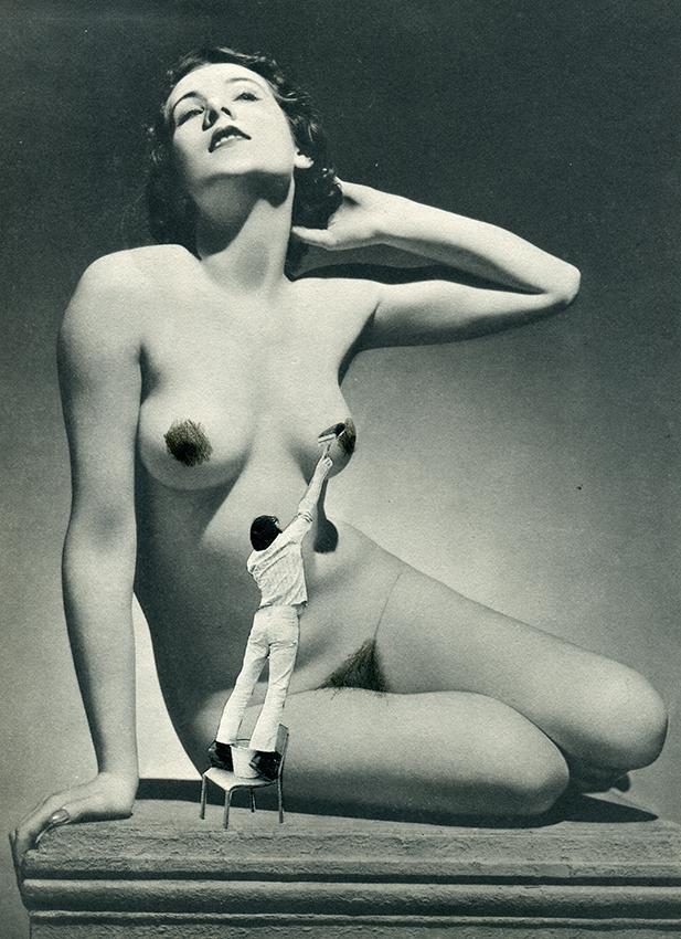 The Censor - Collage op papier - 25 x 32 cm