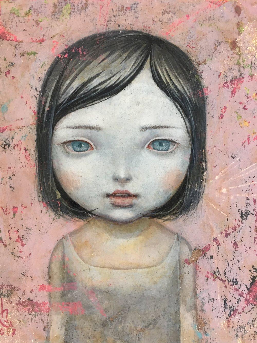 Gouache, aquarelle & acrylique sur toile - 16 x 18,5 cm