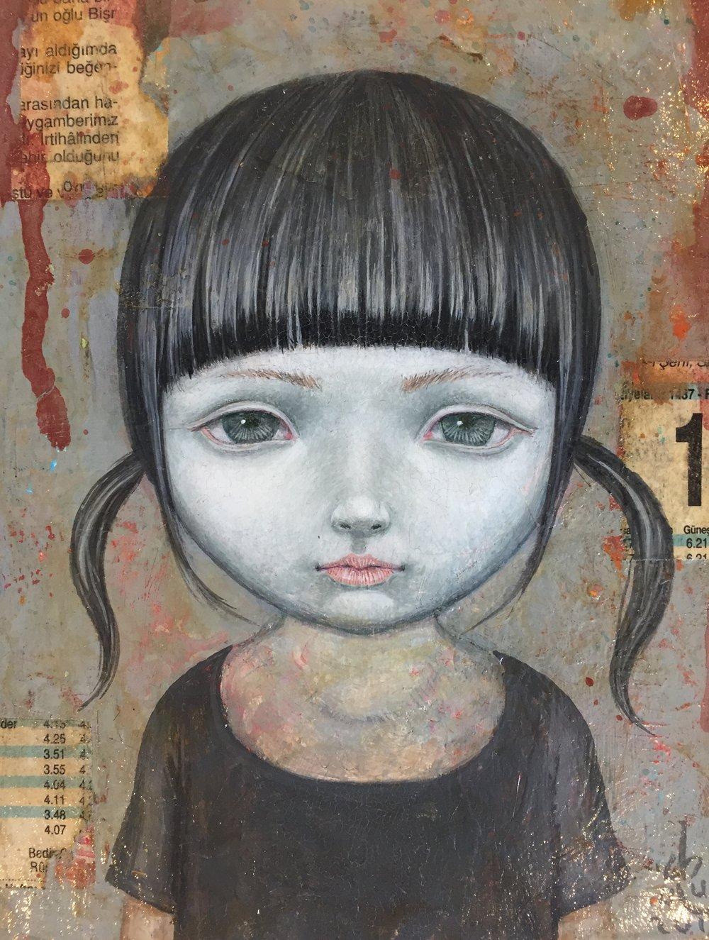 Gouache, aquarel & acryl op karton met vernislaag - 16 x 18,5 cm