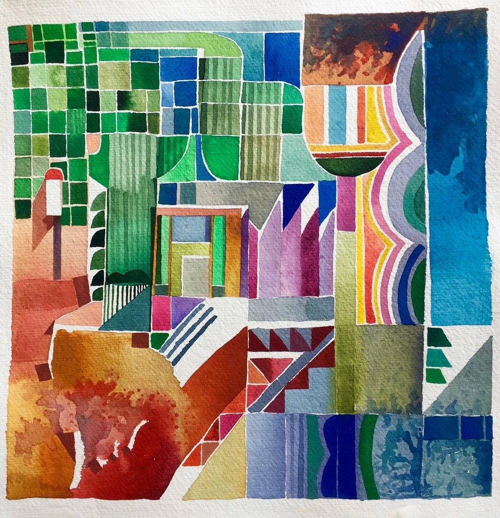 Aquarel op papier - 30 x 30 cm