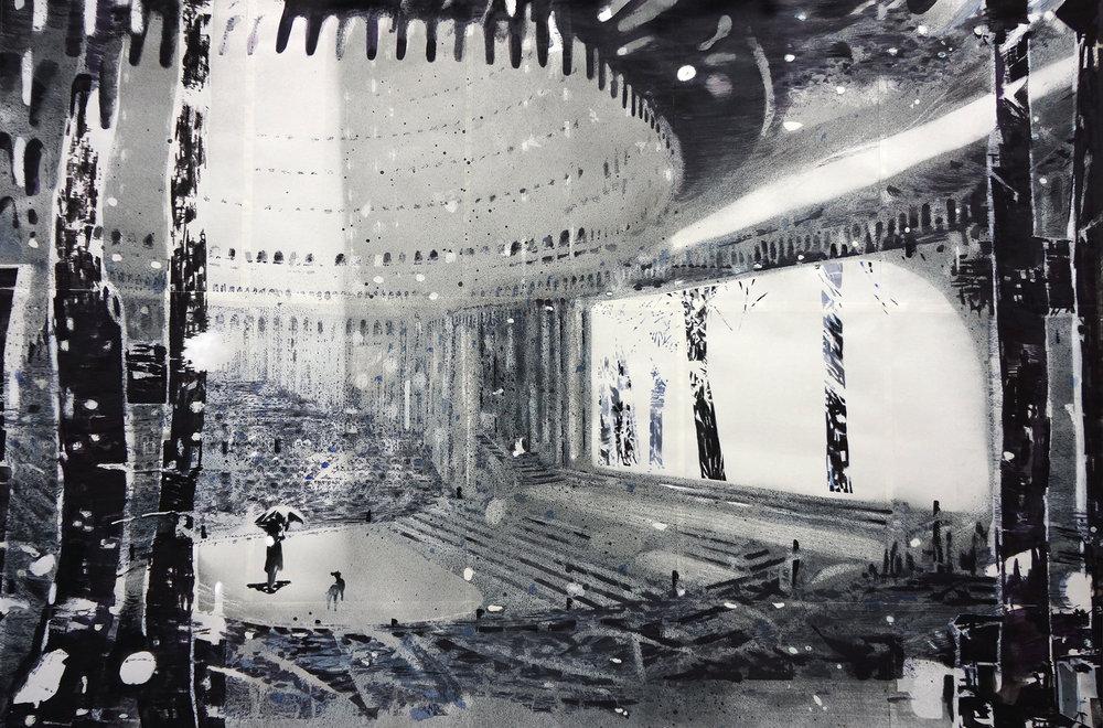 Opera_house#25 (After Hans Poelzig Grosses Schauspielhaus) - Pencil, ink, watercolors & gouache on paper - 67 x 99,3 cm