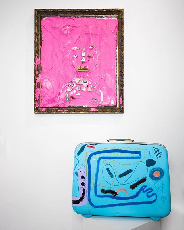 "Works by @leroymirandajr on 1000 Royal: Patten (Love, 24"" x 28"", $1,100) + Suitcase (Love, 20"" x 16"" x 4"", $1,750). On view and for sale during id•entity at Oleander on Royal now through April 1."