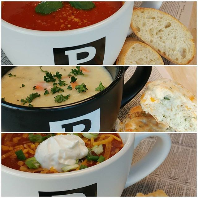 "The ""warm up-line up""! Enjoy a comforting bowl of soup or chili @pressroomdetroit  #soup #tomatosoup #chickendumpling #beef #chili #compassgroupusa #compassgroup #eurest #eurestgreatlakes #eurestculinary"