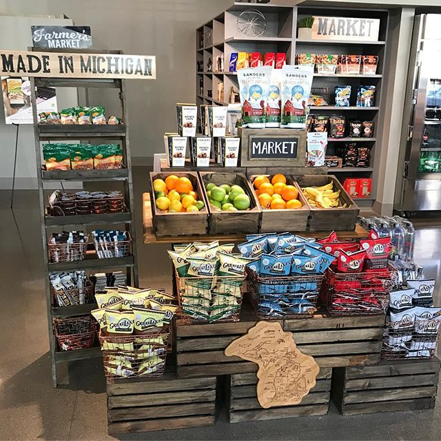 We've amped up our #madeinmichigan market! Featuring snacks from all over the  #mitten ! Stop in and see what our state has to offer! ✋♥️ #eurestohiovalley #greatlakes #sanders #karsnuts #bbites #detroiteats #detroitfoodie #local #buylocal #snacksonsnacksonsnacks