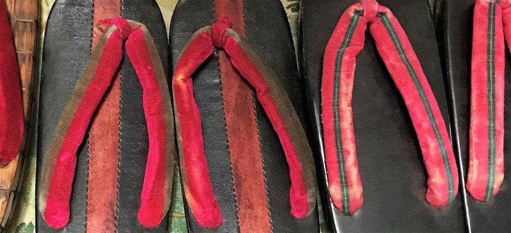 Japanese zori sandals in a shop in Havre de Grace, Maryland