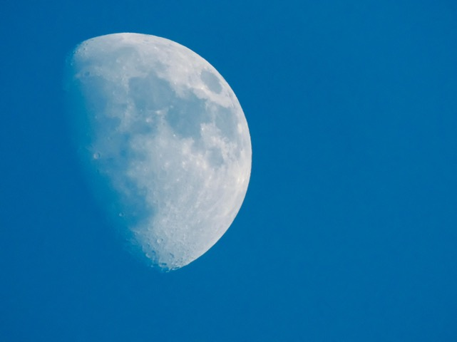 Our moon, in the daytime.