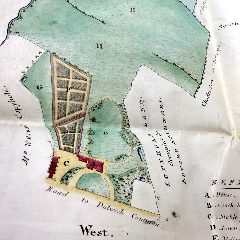 Original deeds showing plan of Bell House courtesy of the Governors of Dulwich College