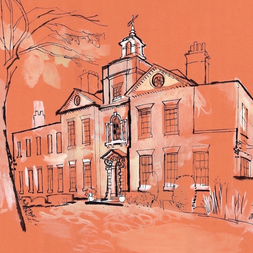 A drawing of Bell House by Lucinda Rogers, commissioned in 2016