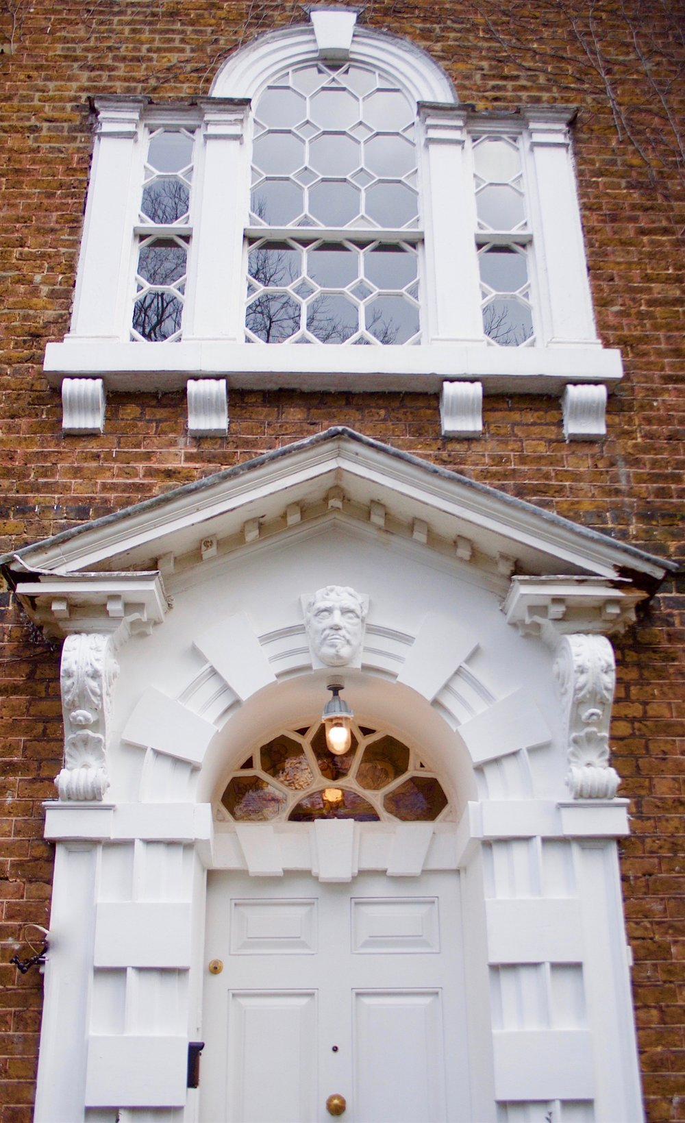 Georgian front door and stained glass fanlight of Bell House