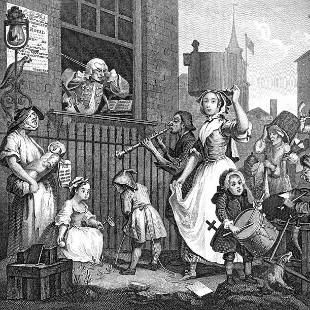 The Enraged Musician, Hogarth, 1741, credit British Museum