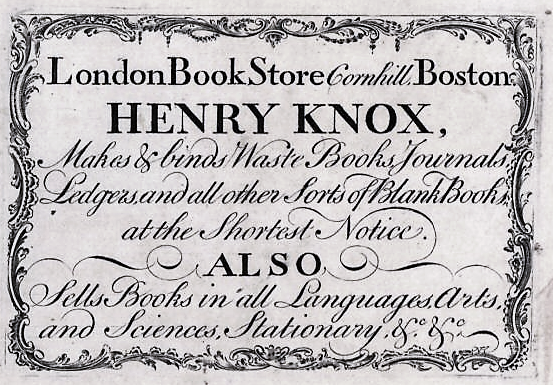 Thomas Wright supplied stationery to Henry Knox in Boston