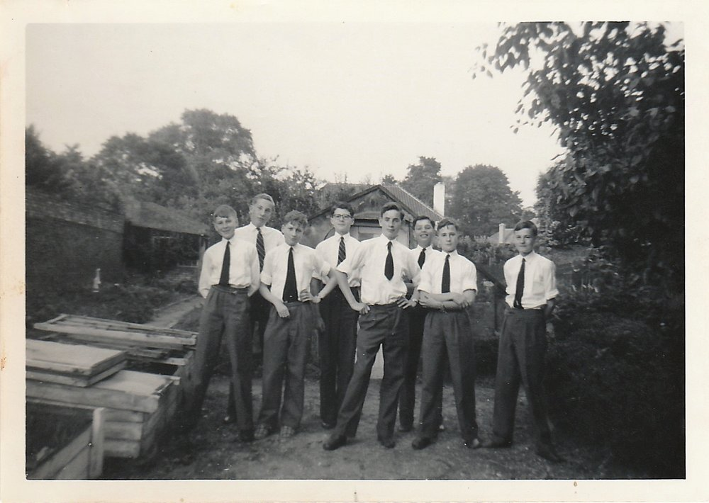 Bell House monitors in the kitchen garden, 1958. Source: Cheryl Spray