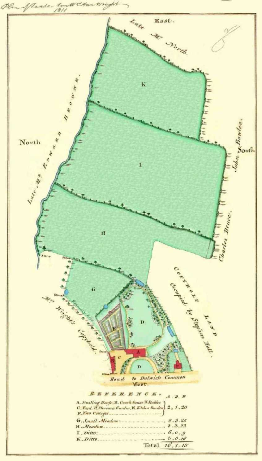 Lease of Bell House showing extent of garden. Source: Dulwich College