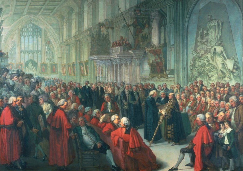 Swearing in of a lord mayor: Thomas Wright (of Bell House) is front centre, looking over his shoulder. Source: Guildhall Art Gallery, City of London