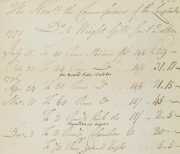 Bill for the supply of paper by Wright & Gill to the Board of Longitude, 1775. Source: Cambridge Digital Library