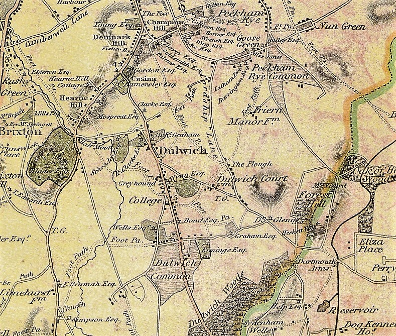 1823 map showing an undeveloped Dulwich