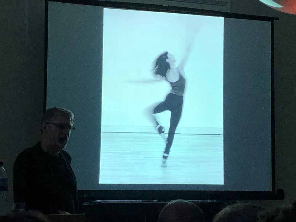 Chris Nash at Bell House showing the first dance photograph he ever took - which won first prize in a photography competition.