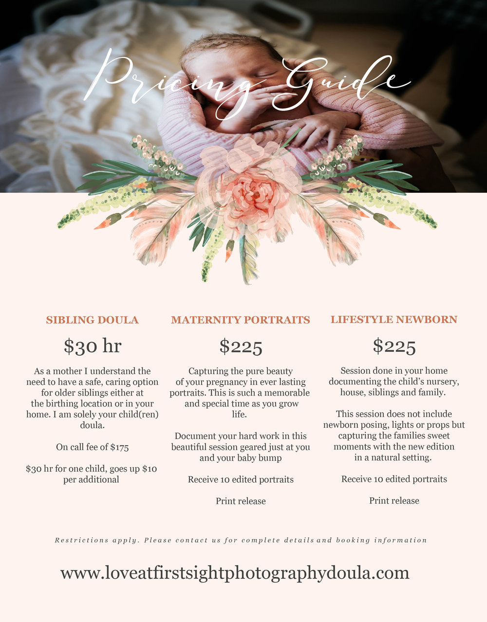 love at first sight photography & doula services  investment guide