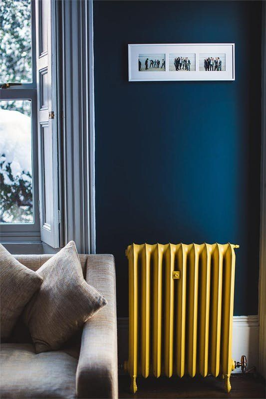 Use bright colors sparingly and surprisingly. Think outside the box for how to incorporate them (think painting a radiator, ceiling or inside of a closet) . This allows you to explore interesting color combinations without investing too much money or time.