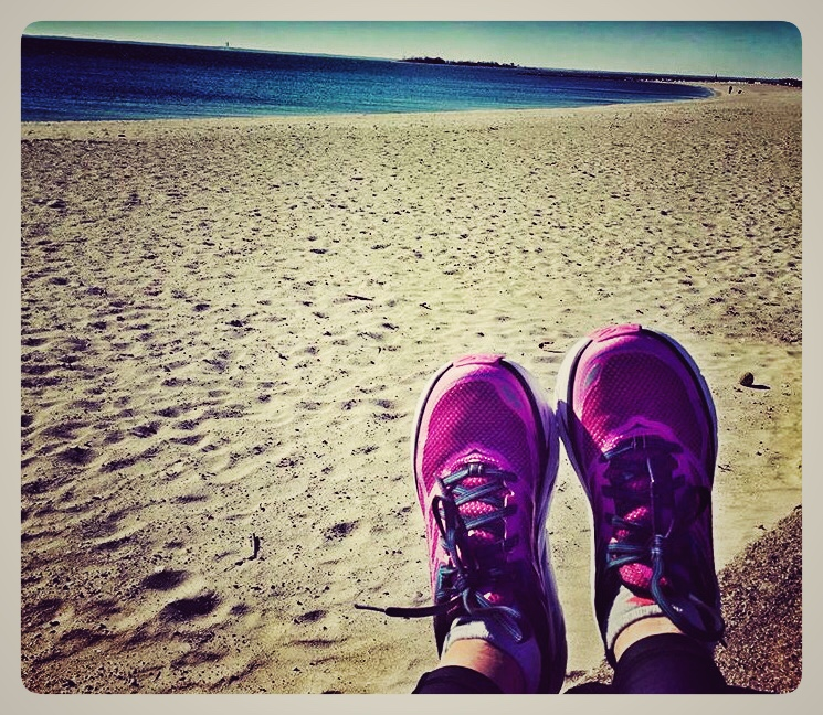 Ali Dorfman at Compo Beach with her  Hoka One One