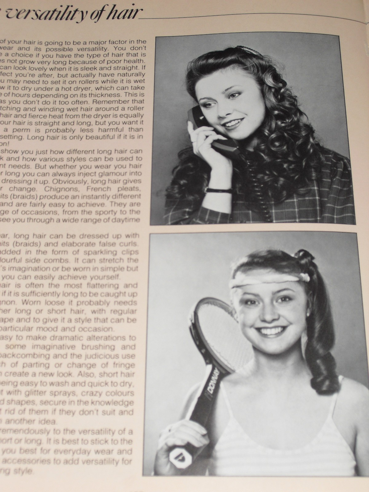 2 pictures of the same woman, one with hair down, one in side ponytail