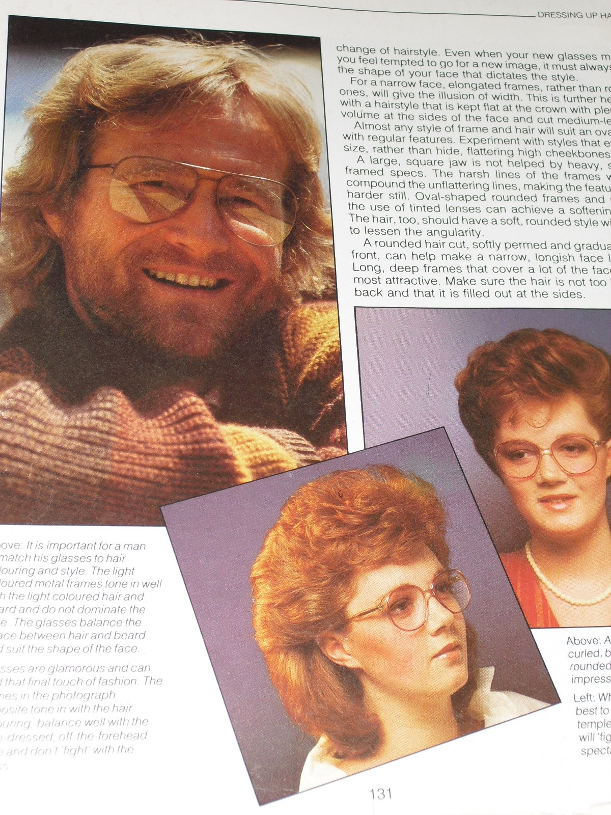 Picture of man, women wearing glasses with styled 80's hair