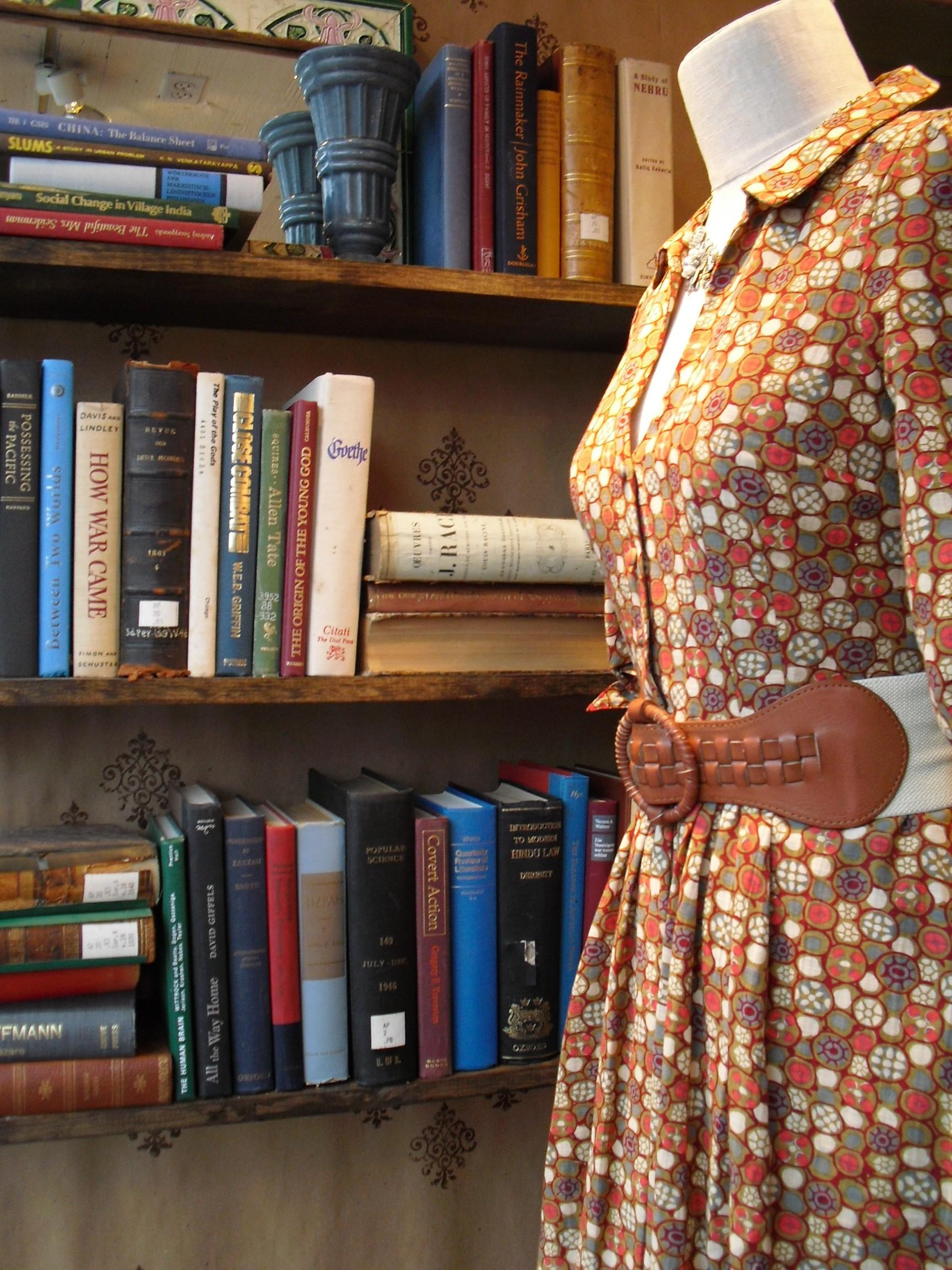 Shelves of books, dress, Georgetown Anthropologie