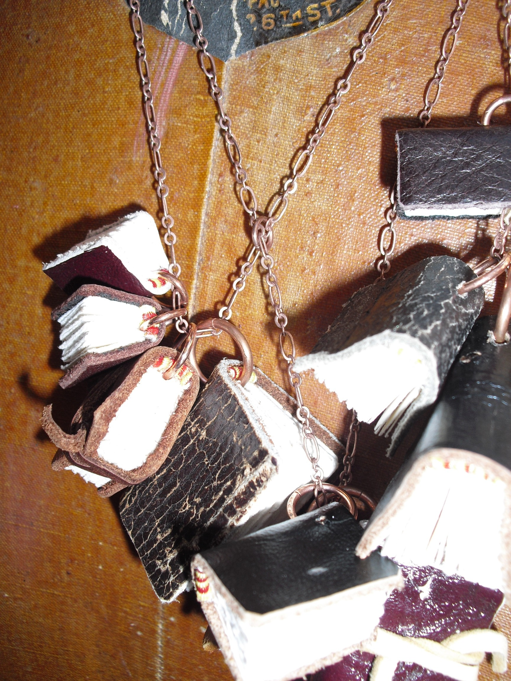 Close up of Leather Bound Journal Necklace