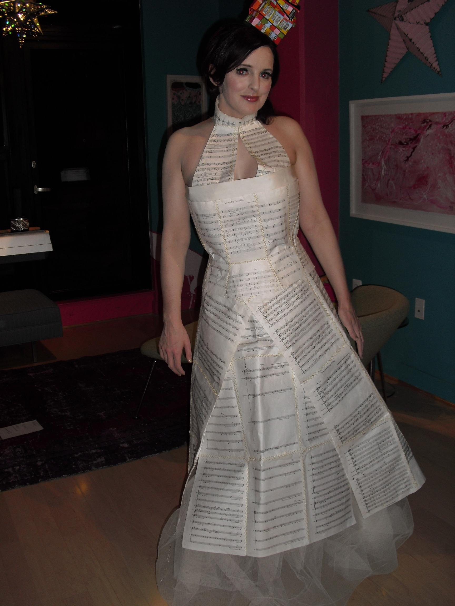 Full Length Picture of Julie Feeney in Sheet Music Dress