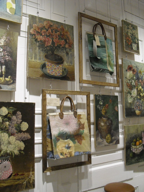 Wall of handbags in frames