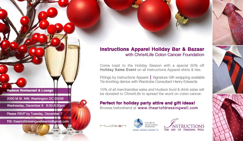 Invitation to Instructions Apparel Holiday Bar & Bazaar Event