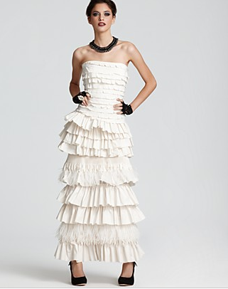 BCBGMAXAZRIA White Strapless Pleated Feather Gown