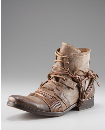Brown boot with wrapped laces.