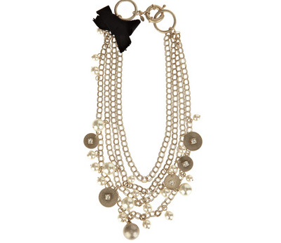 Layered gold plated necklace with glass pearl embellishments.