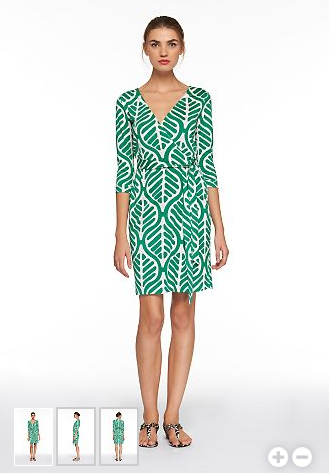 DVF Vintage Collection Wrap Dress in Green