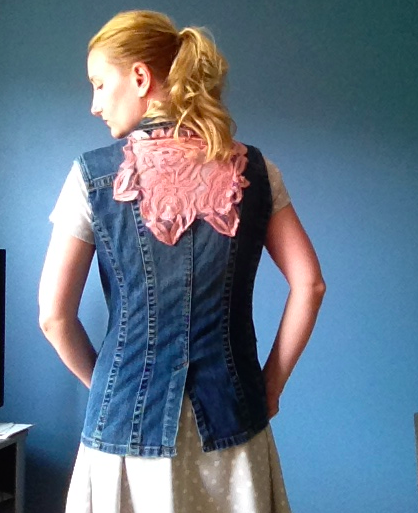 Anthropologie Inspired DIY Lace Denim Vest - Back