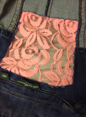 Anthropologie Inspired DIY Lace Denim Vest - Stitching From Inside