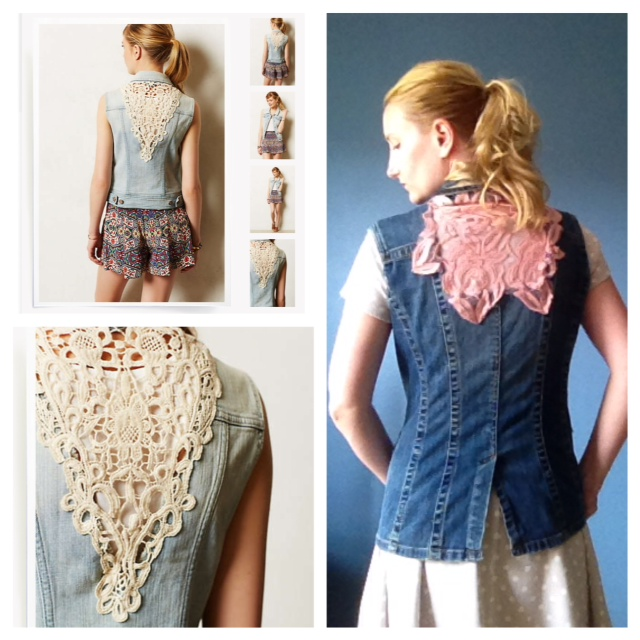 Anthropologie Inspired DIY Lace Denim Vest