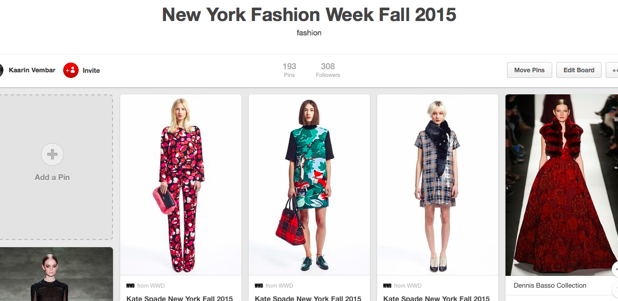 New York City Fashion Week Fall 2015 Pinterest