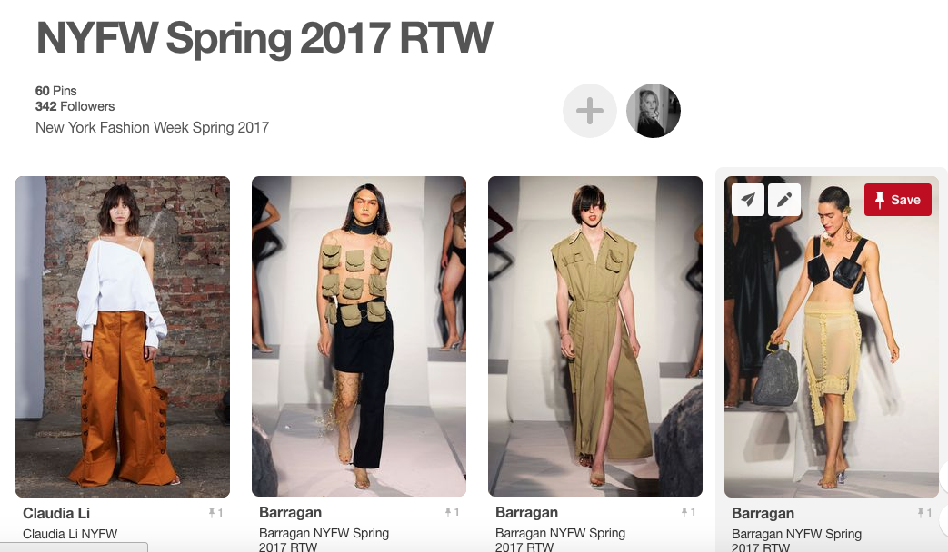 New York Fashion Week Spring 2017 RTW Pinterest Board