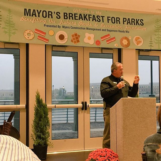 MCMI Owner Don Myers speaking at the Mayor's Breakfast For Parks last week benefitting the Fishers Parks & Recreation Foundation...in a building that MCMI built for Fishers last year!! We love supporting our community and we think parks are an important part of each community!